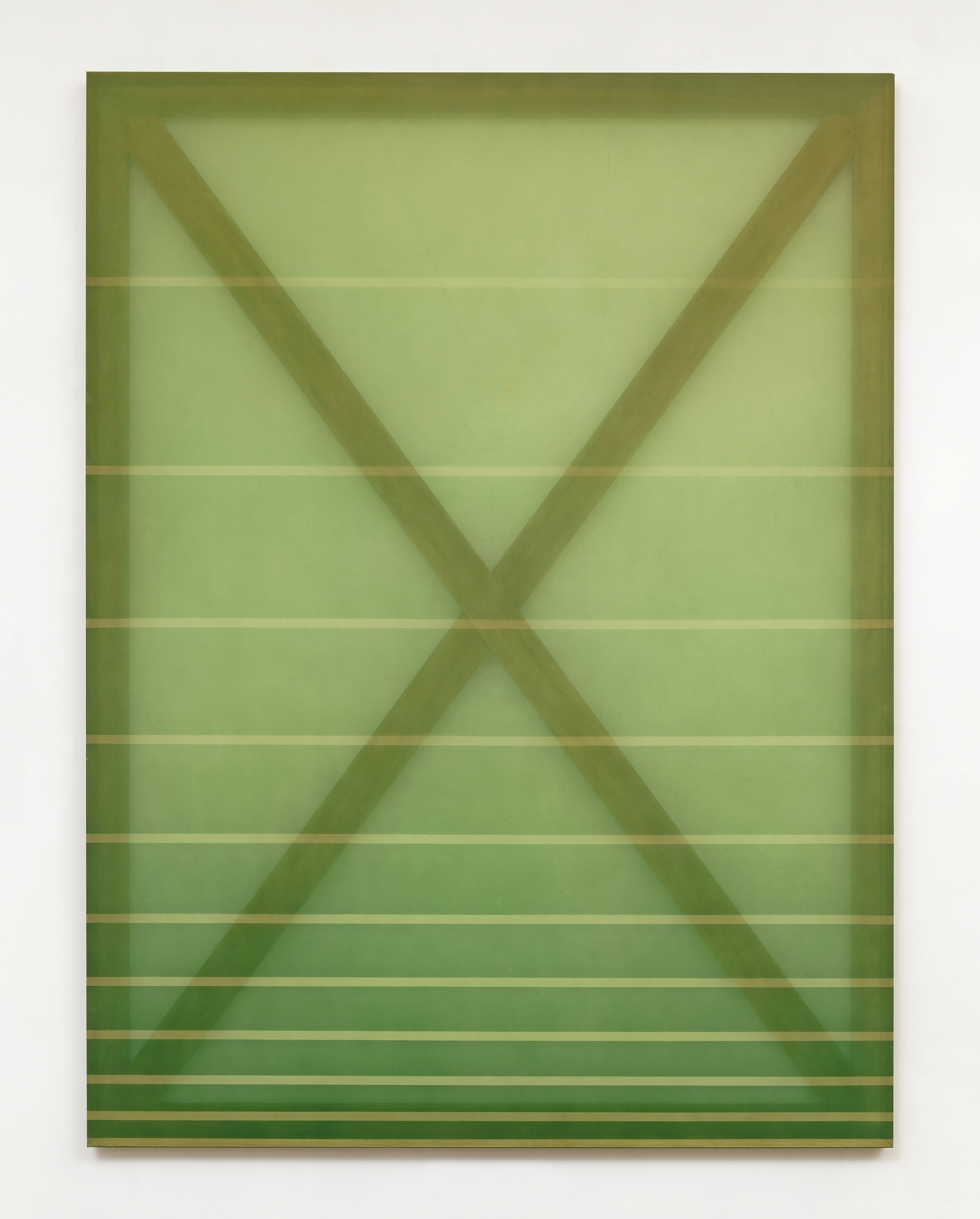 Rebecca Ward, X (green and yellow), 2015, oil and dye on silk, 60 x 45 in