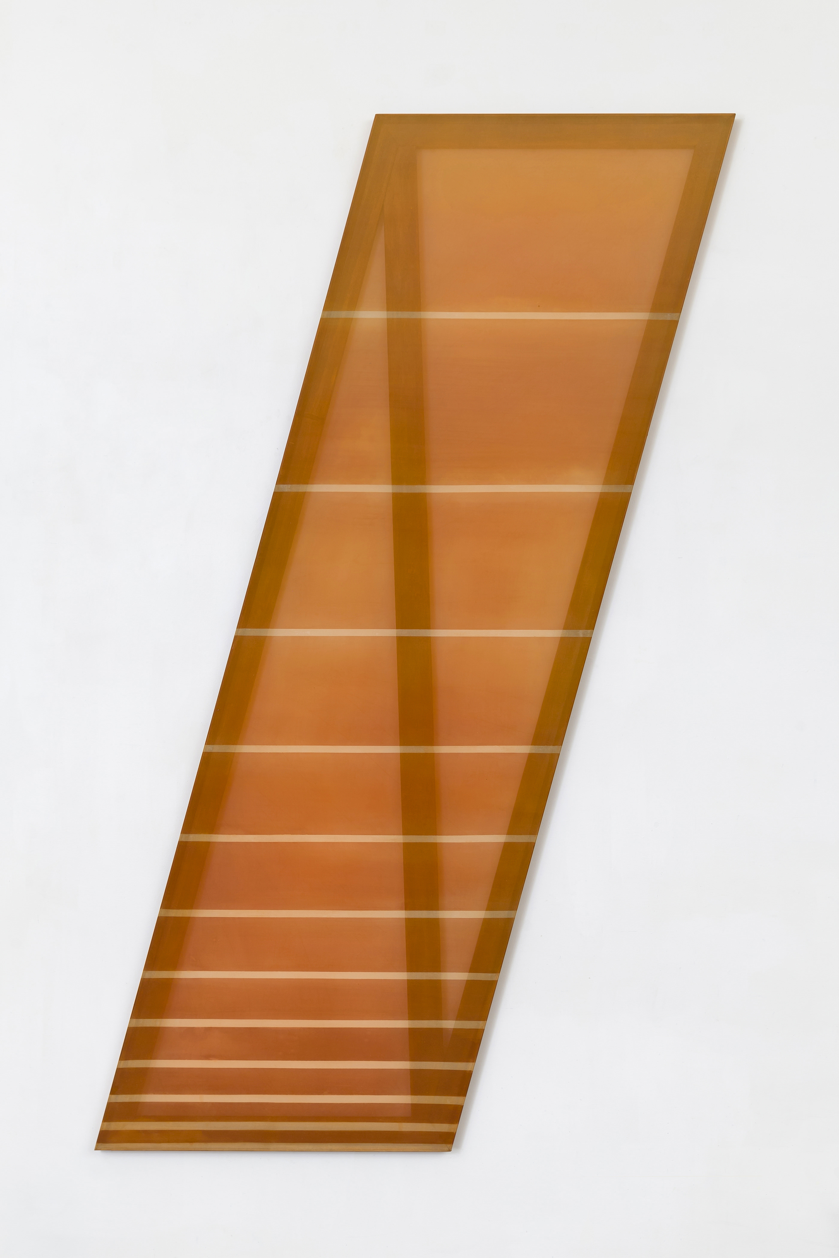 Rebecca Ward, / (rust and cream), 2015, dye on silk, 78 x 26 in
