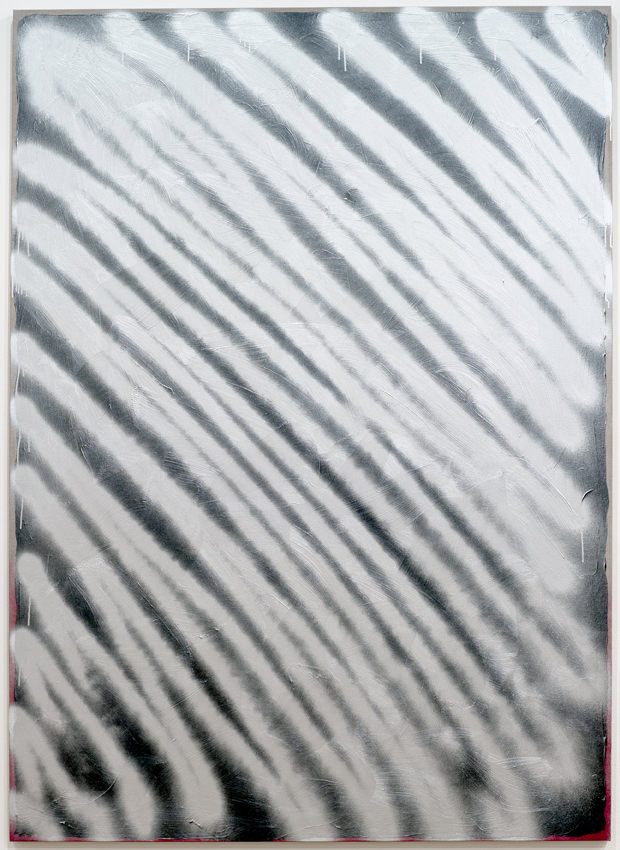 Ziggy Grudinskas, Burner, 2014, bitumen paint and spray paint on linen, 250 x 180 cm