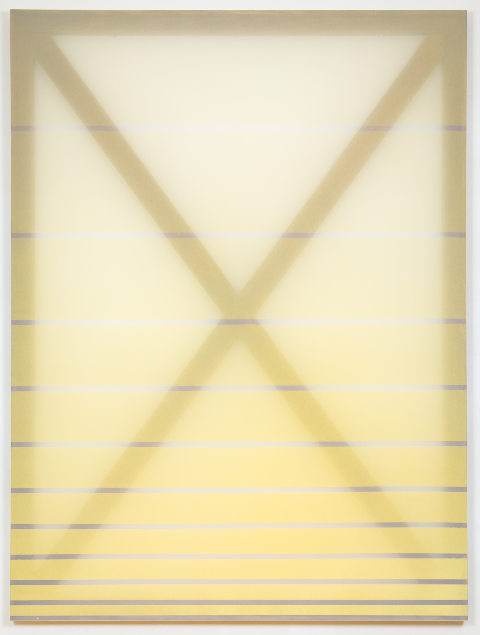 12) Rebecca Ward, X (yellow), 2015, oil on silk organza, 60 x 45 in