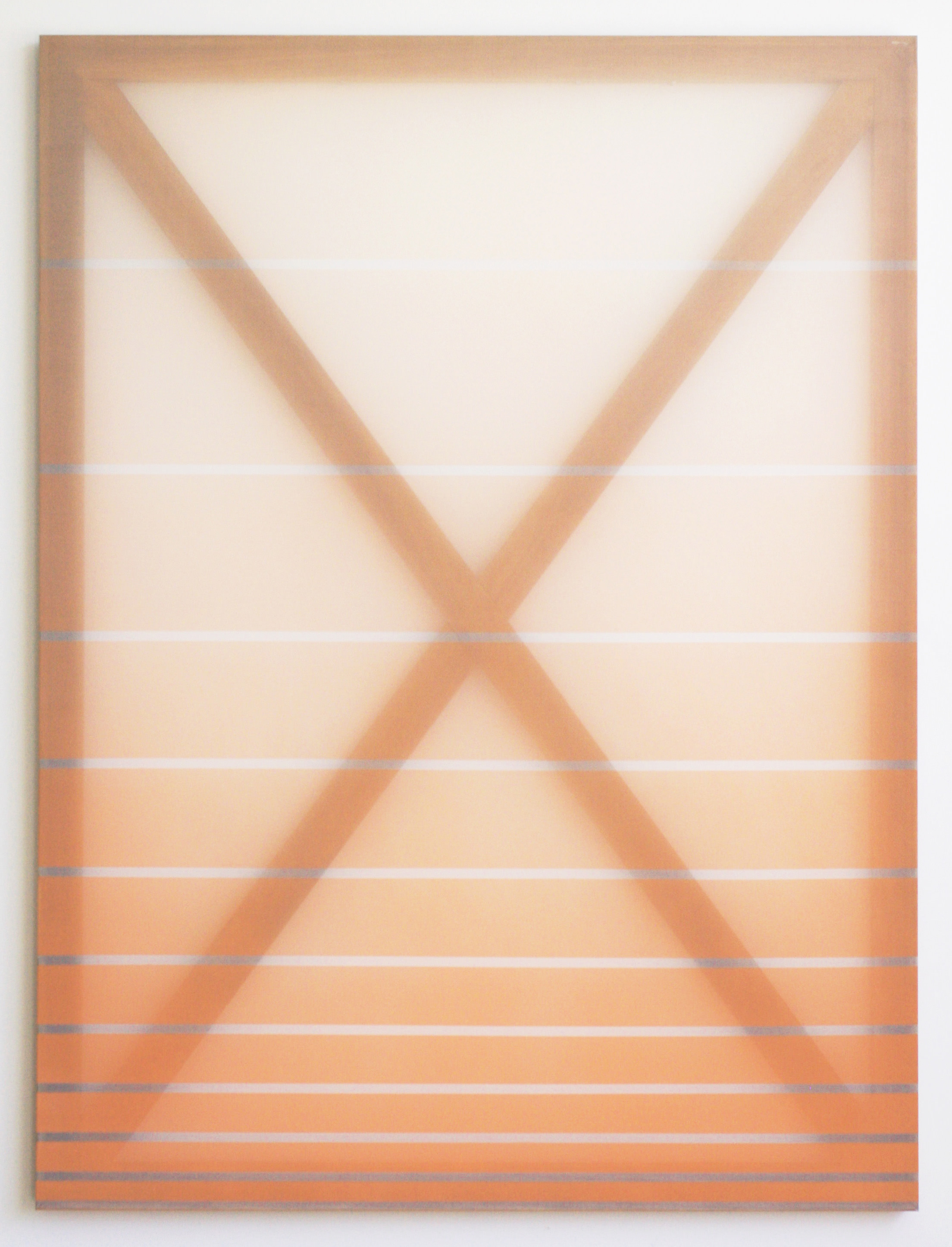 14) Rebecca Ward, X (orange), 2015, oil on silk, 60 x 45 in