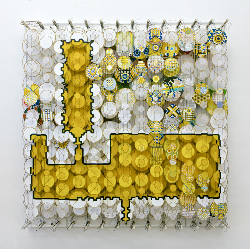 Jacob Hashimoto, Straight to the Heart of Tomorrow, 2013, acrylic, paper, Dacron, wood, 122 x 122 cm