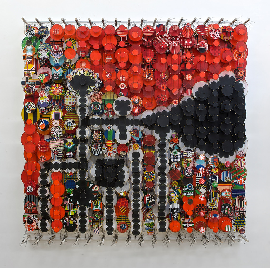 Jacob Hashimoto, Super Real Control Systems and Savage Momentum, 2012, acrylic, paper, dacron, wood, 60 x 60 x 8 in