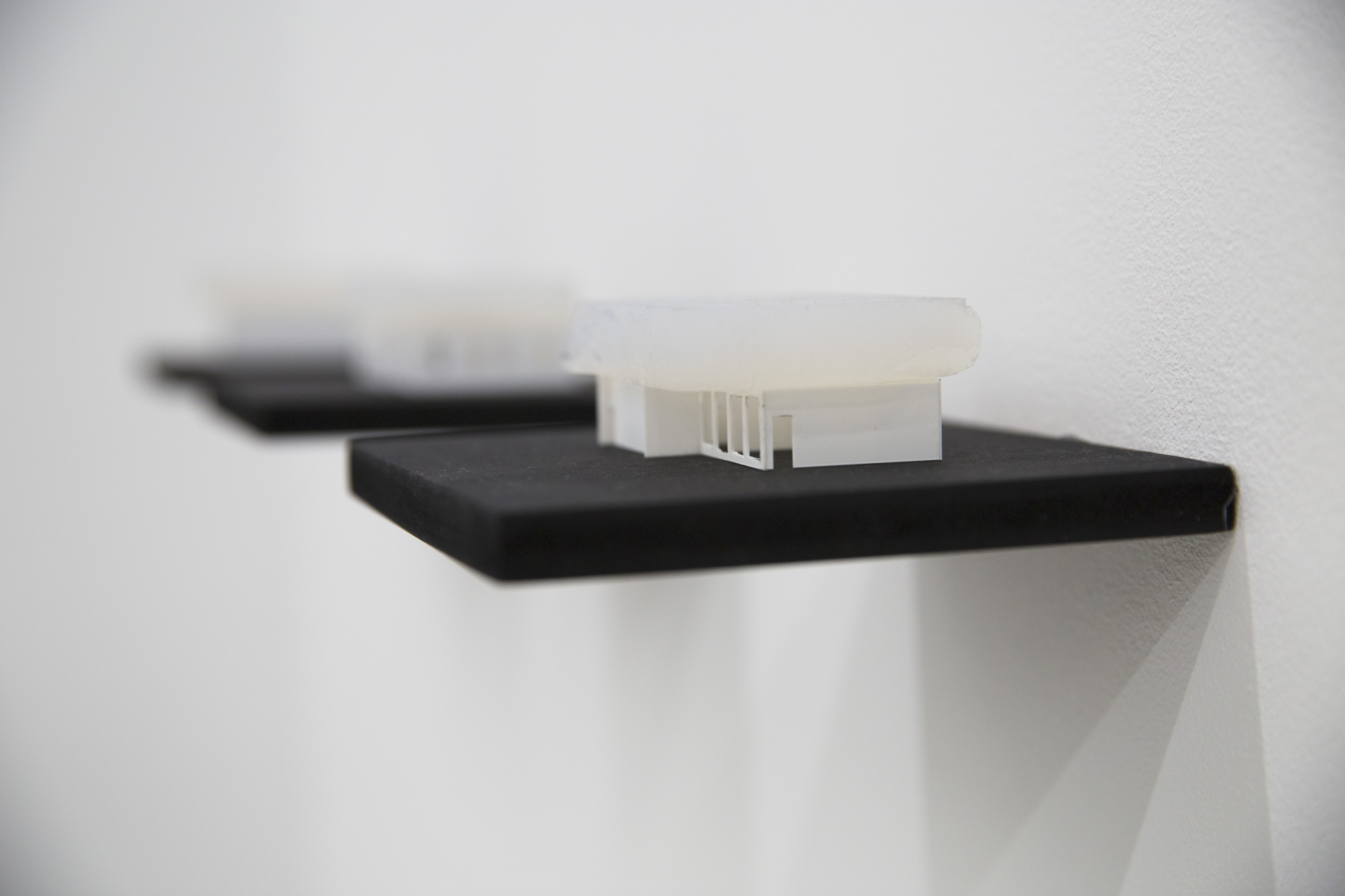 Berndnaut Smilde, Cumulus Series, 2012-2014, aerogel and plastic model, 3.5 x 7.5 x 7.5 cm each