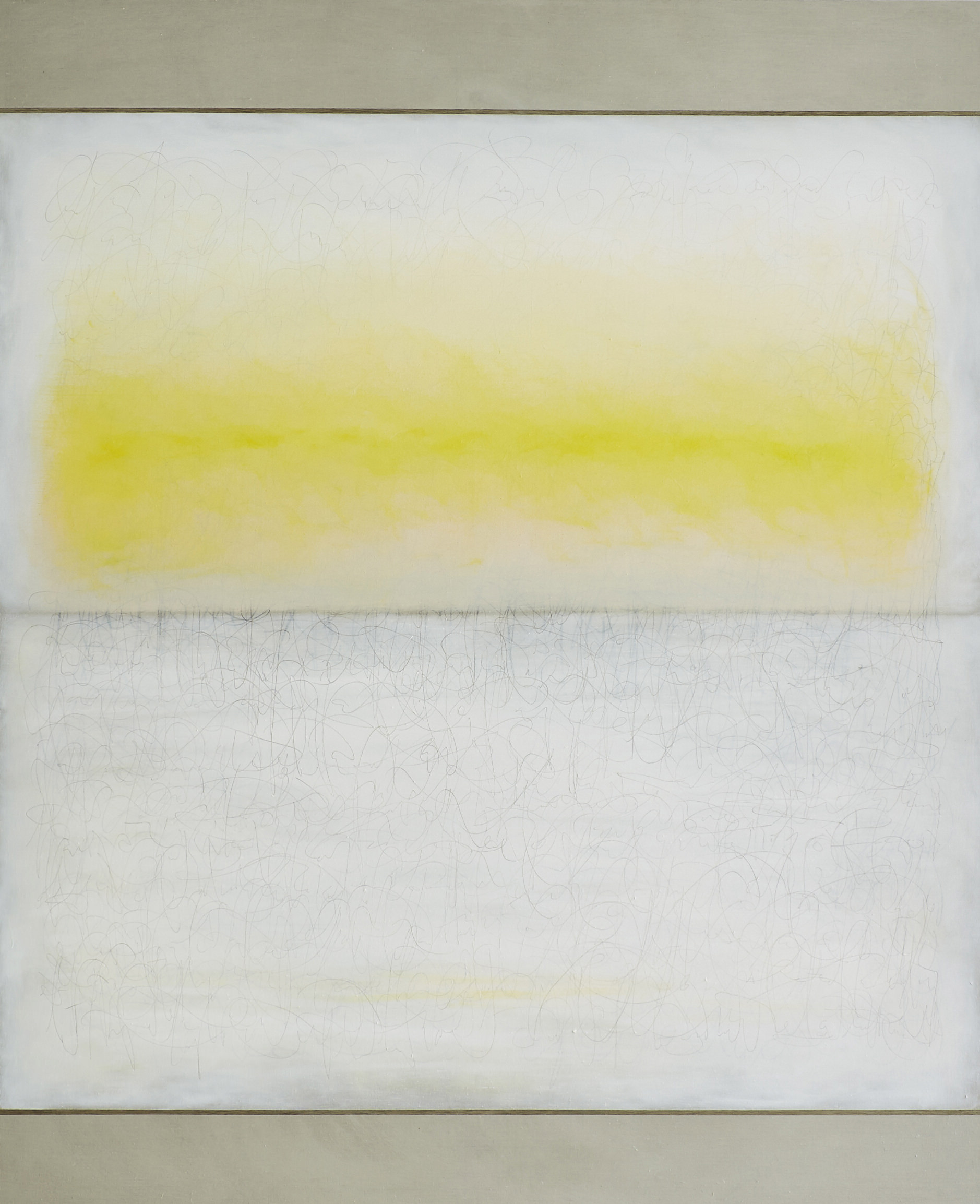 Richard Höglund, Sea Picture LVIII (Primary Colours. YELLOW), 2016, silver, tin, lead and oil on linen prepared with bone pulver and marble dust, 226 x 183 cm