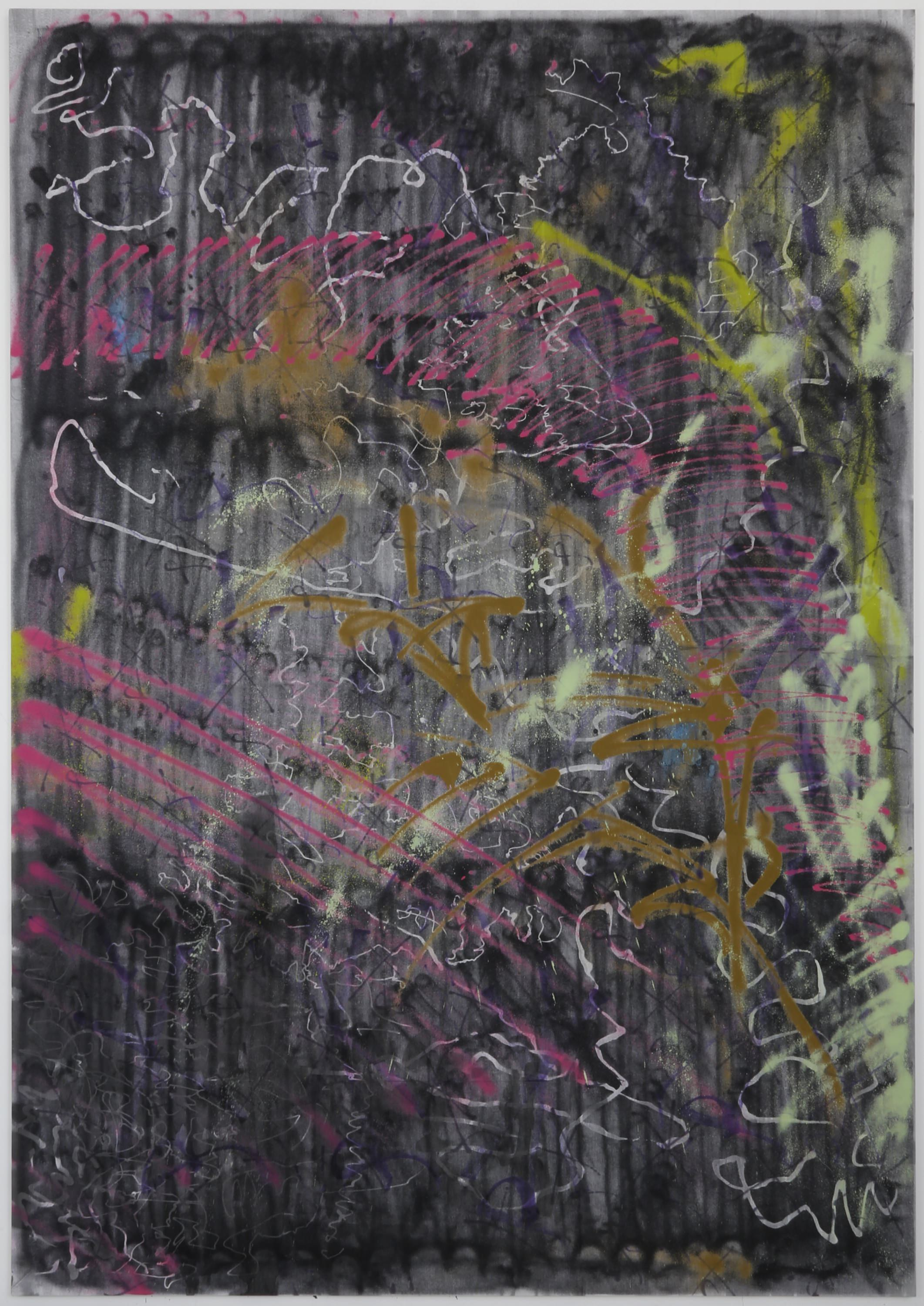 Ziggy Grudzinskas, Something In The Way, 2015, ink, oil & spray paint on polyester – 285 x 200 cm