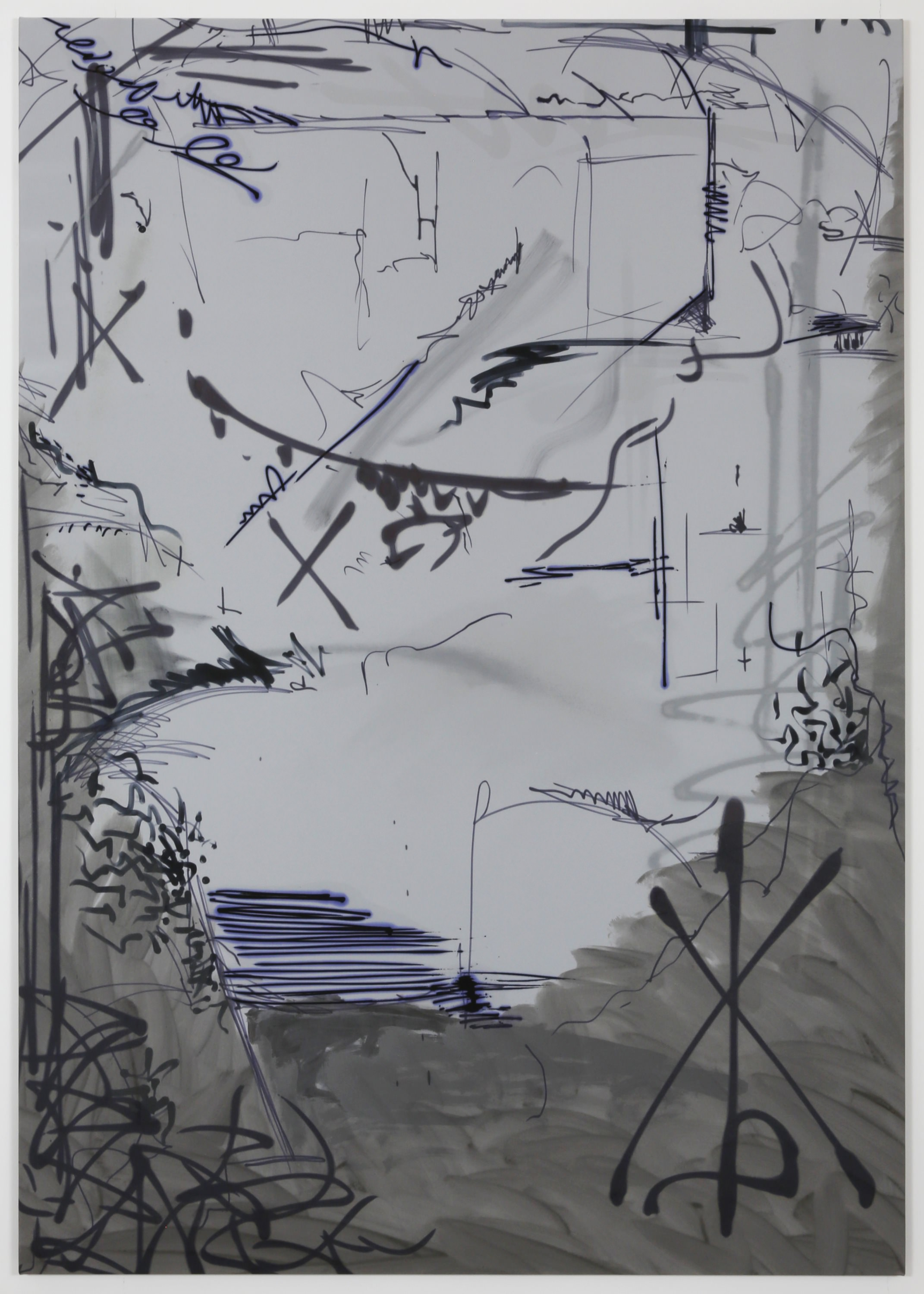 Ziggy Grudzinskas, To The End, 2015 – acrylic, ink & spray paint on polyester – 200 x 140 cm