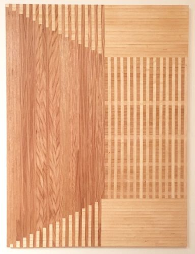Rebecca Ward, denouement, 2015, red oak and birch veneer edge banding on panel, 60 x 45 in