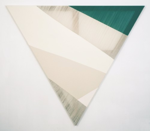 Rebecca Ward, eclipse, 2015, acrylic on stitched canvas, 60 x 60 in (triangle)