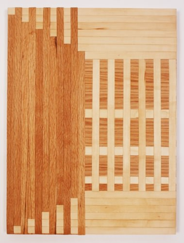 Rebecca Ward, intersectionalism, 2015, red oak and birch veneer edge banding on panel, 24 x 18 in