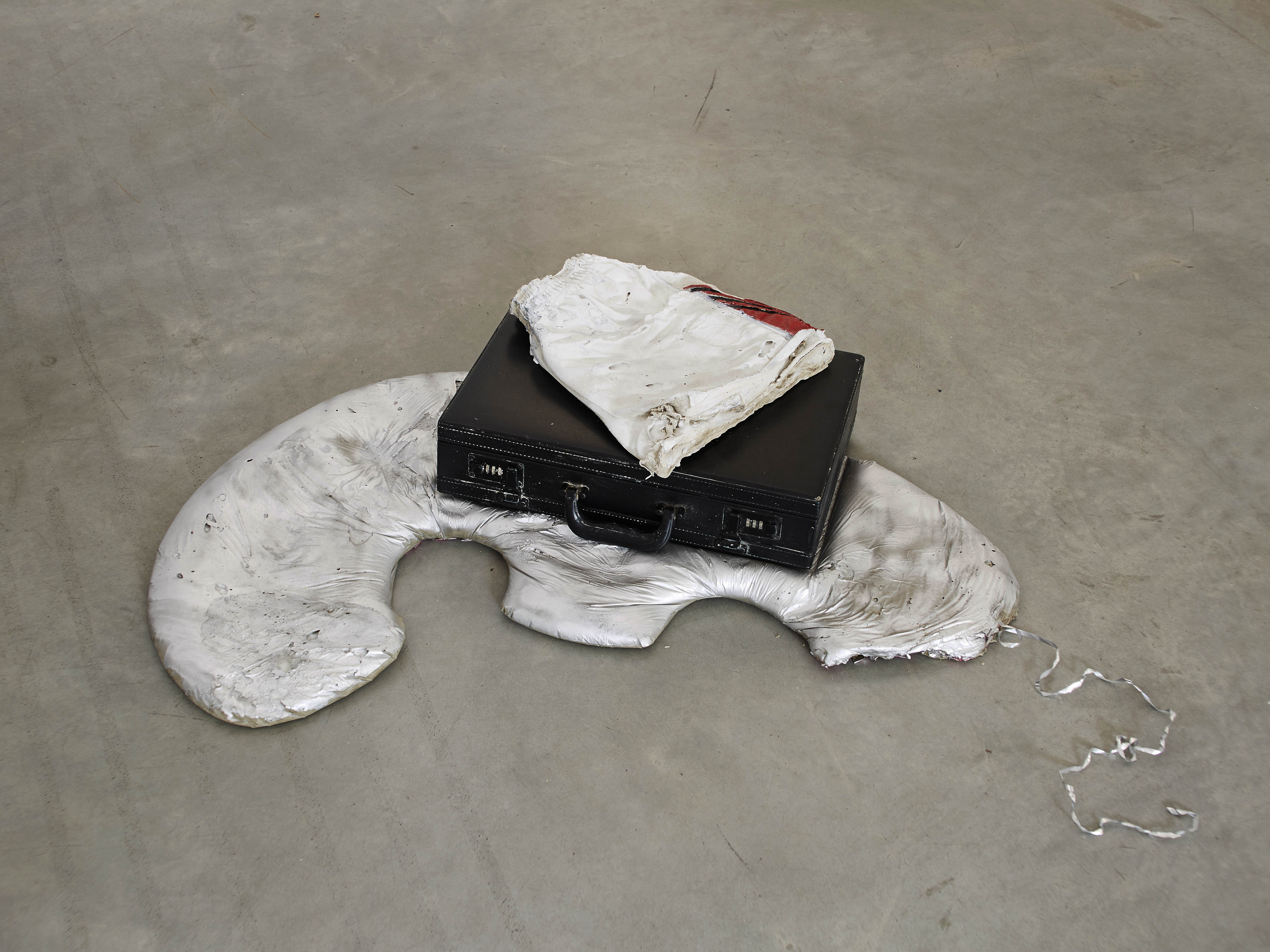 rose-salane-football-2016-found-briefcase-with-painted-plaster-cast-dimensions-variable-17-x-87-x-51-cm-edited