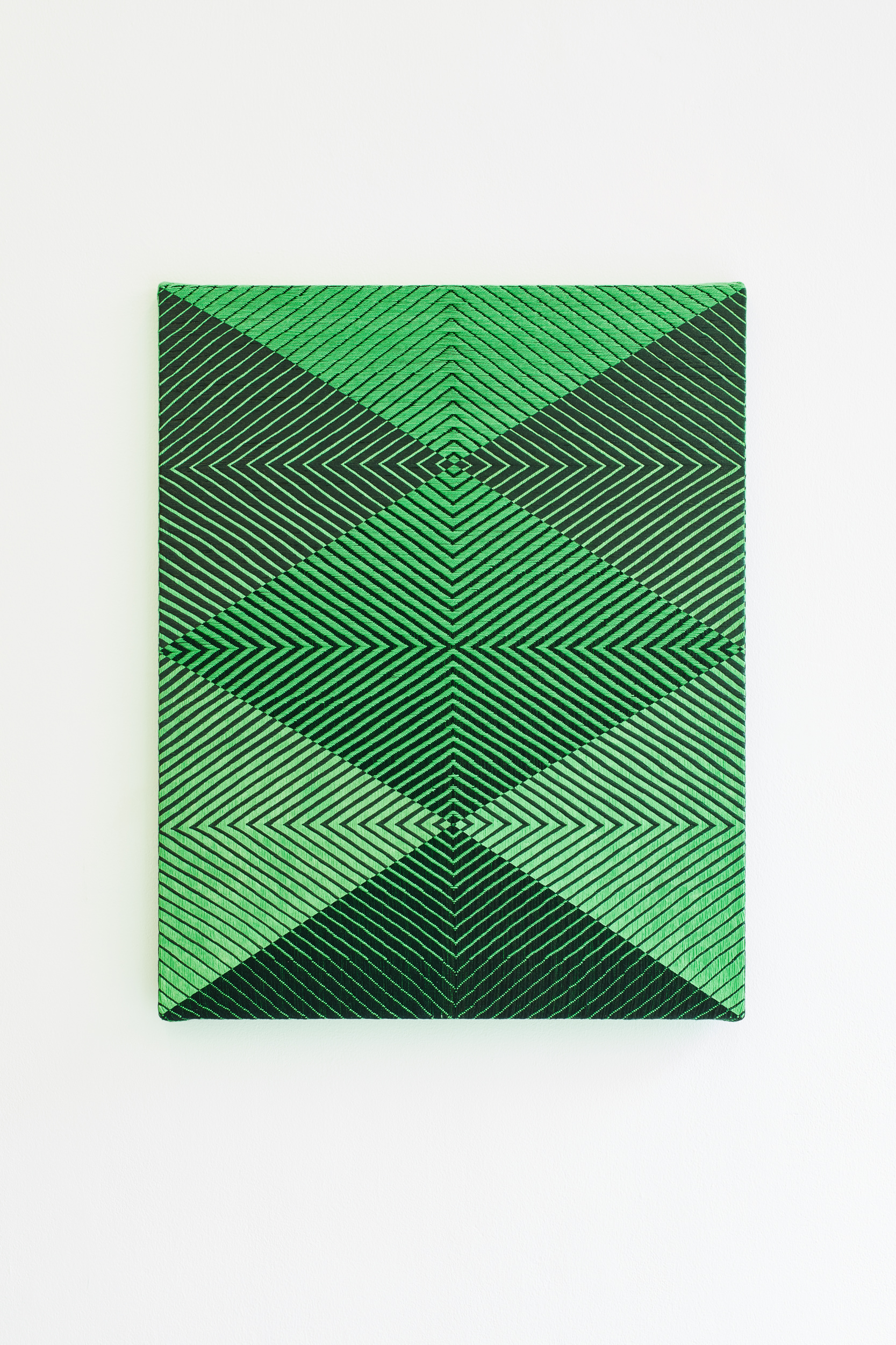 Samantha Bittman, Untitled, 2017, acrylic on hand-woven textile, 30×24 inc, inv. n. 2017-012