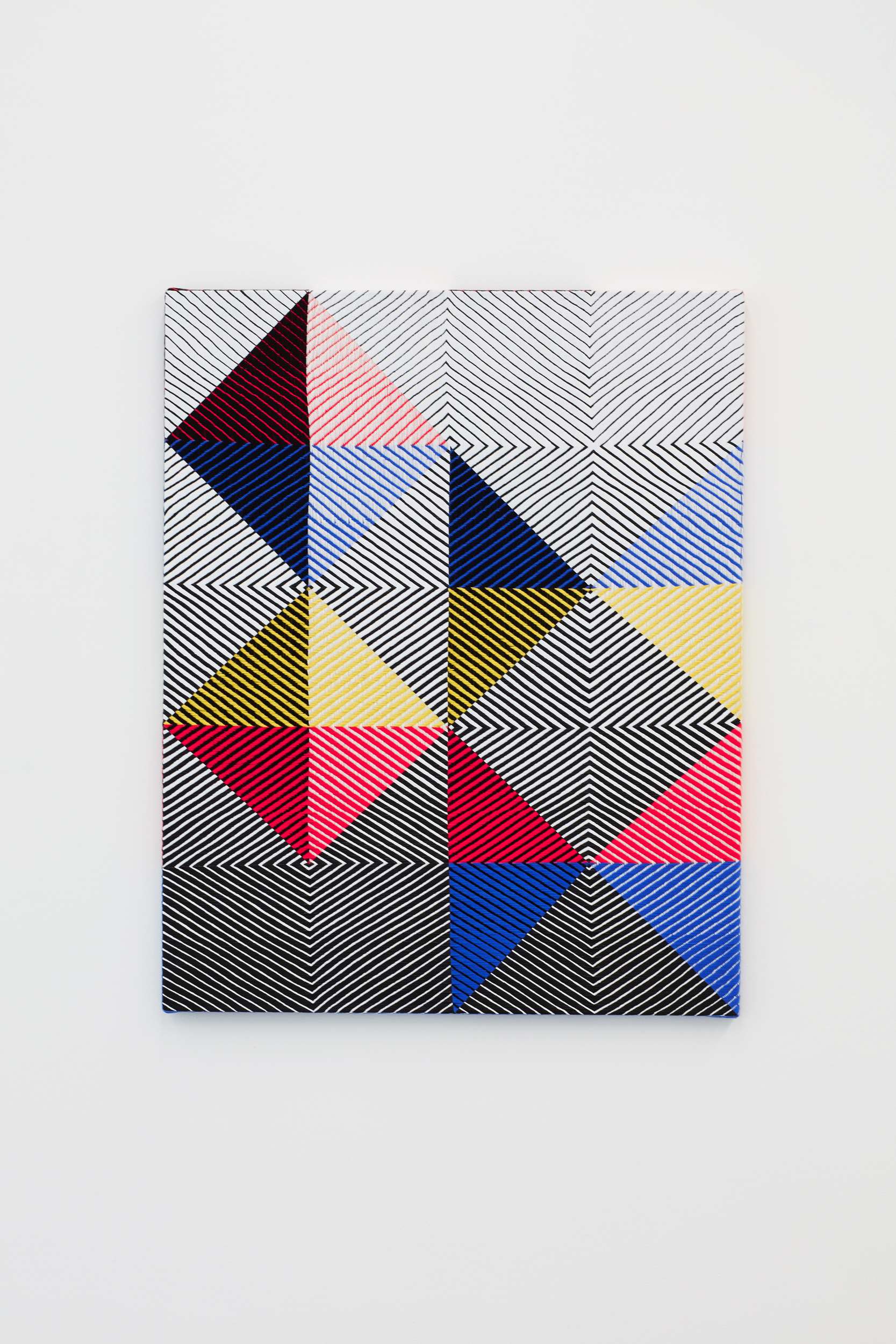 Samantha Bittman, Untitled, 2017, acrylic on hand-woven textile, 40×32 inc, inv. n. 2017-013