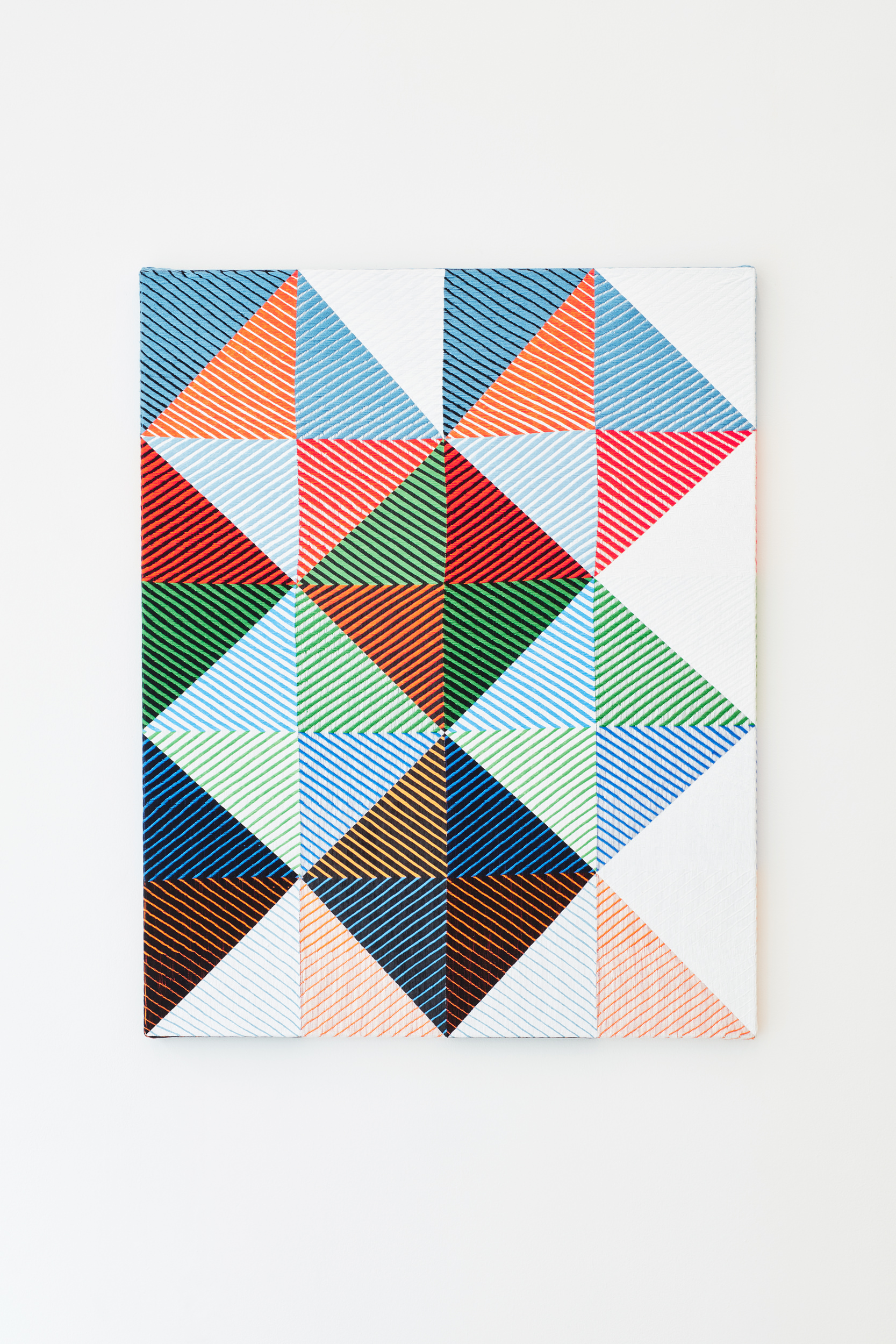 Samantha Bittman, Untitled, 2017, acrylic on hand-woven textile, 40×32 inc, inv. n. 2017-024