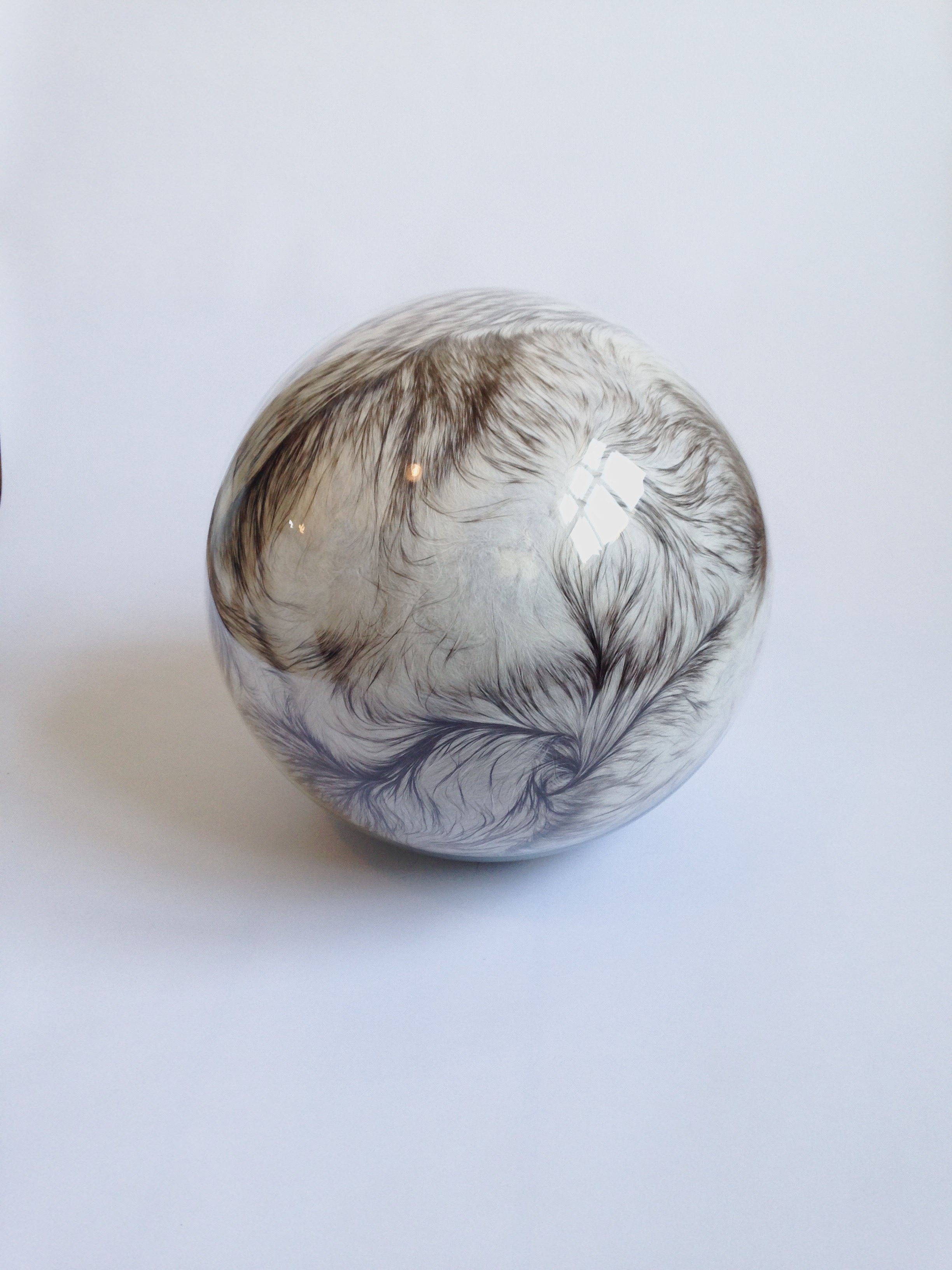 Adeline de Monseignat, Hairy Eye Ball XIII, 2015, vintage fur, pillow filler, glass, felt base, 30 cm diameter