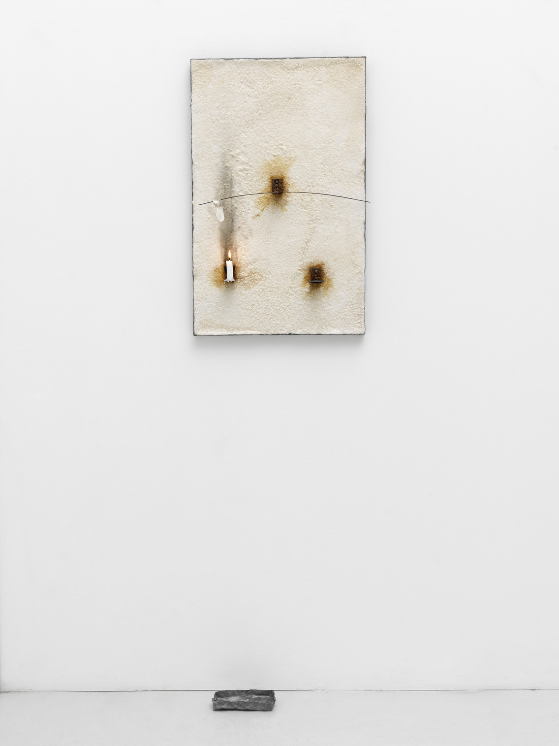 Pier Paolo Calzolari  Untitled, 1990  salt, lead, iron, copper, paper, candle 80 x 52 x 10 cm