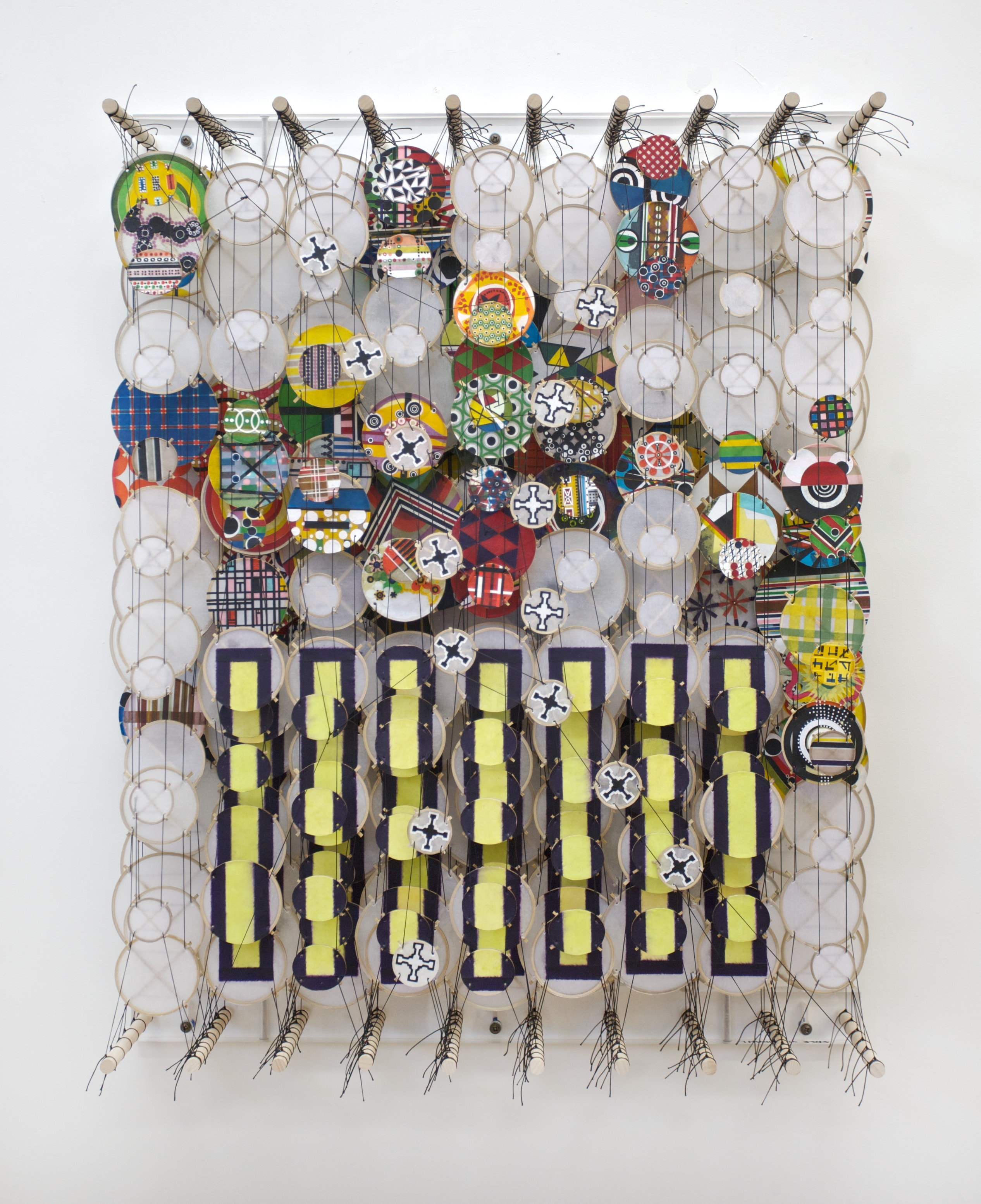 Jacob Hashimoto, The Half Truths of Conscious Thoughts, 2012, bamboo, paper, dacron, acrylic, 92 x 72 x 20 cm