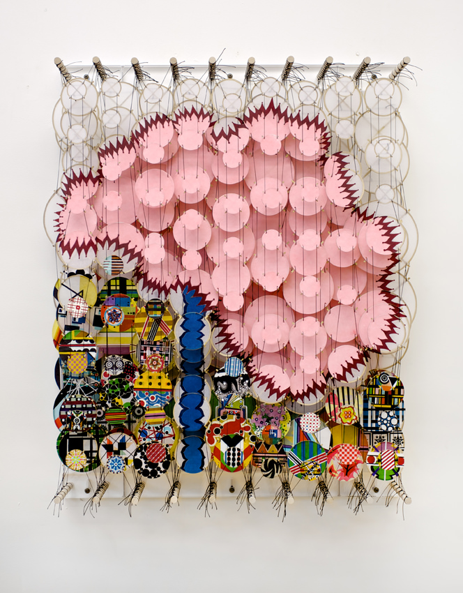 Jacob Hashimoto, Unmeasured Existence and Wilder Human Passions, 2012, bamboo, paper, dacron, acrylic, 92 x 72 x 20 cm