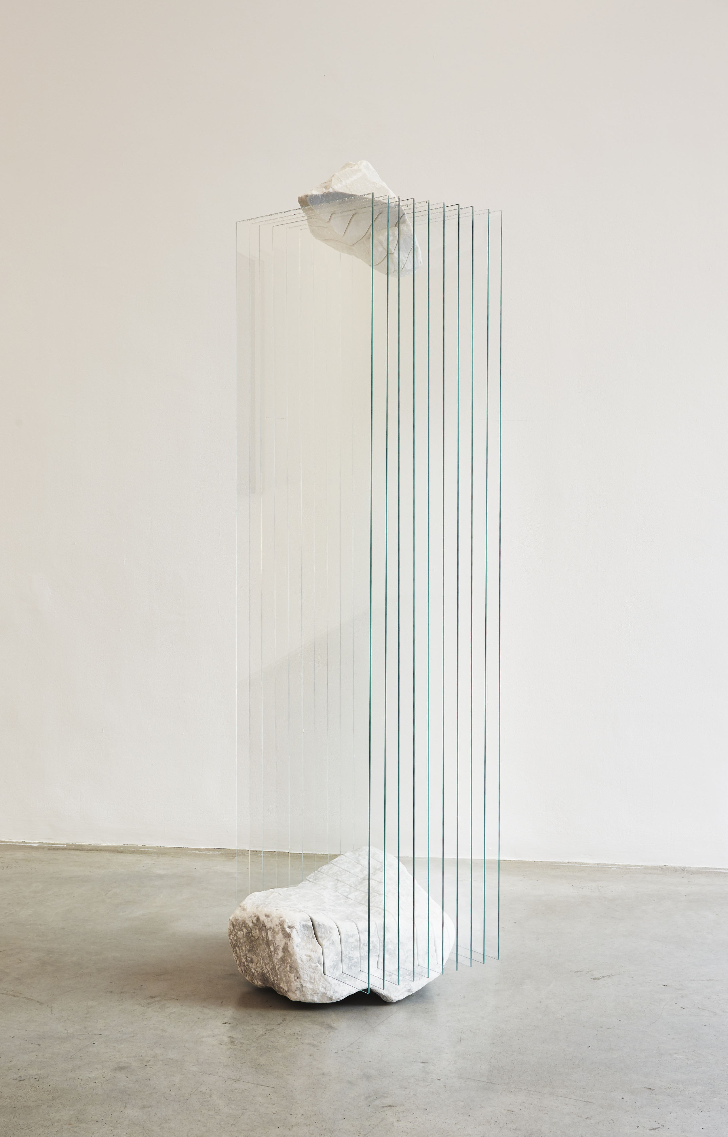 Gianpietro Carlesso Iceberg, 2016 Carrara marble and tempered glass, 184 x 53 x 50 cm