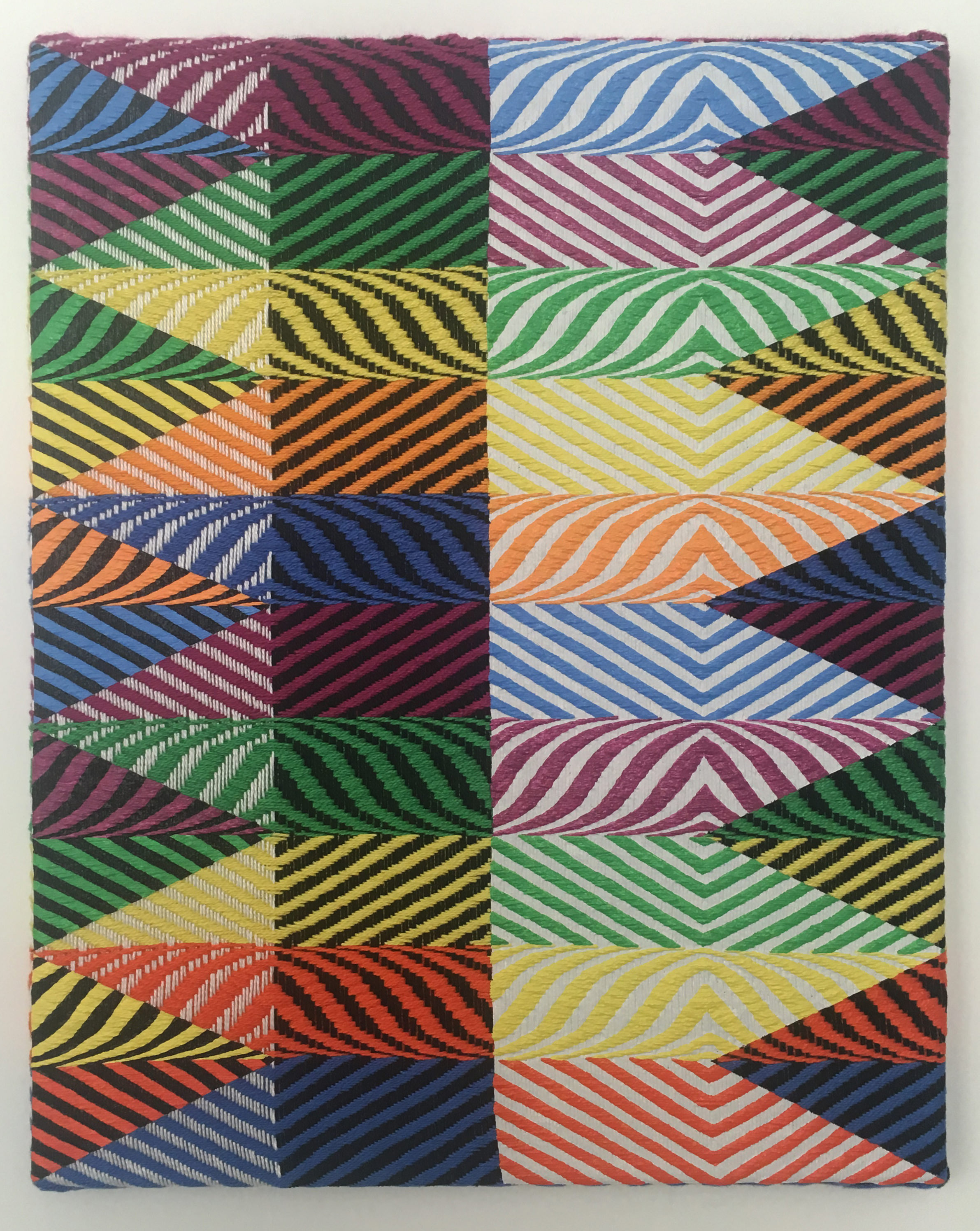 Samantha Bittman, Untitled, 2017, Samantha Bittman, Untitled, 2017, acrylic on hand-woven textile, 20×16 in, inv. n. 2017-033