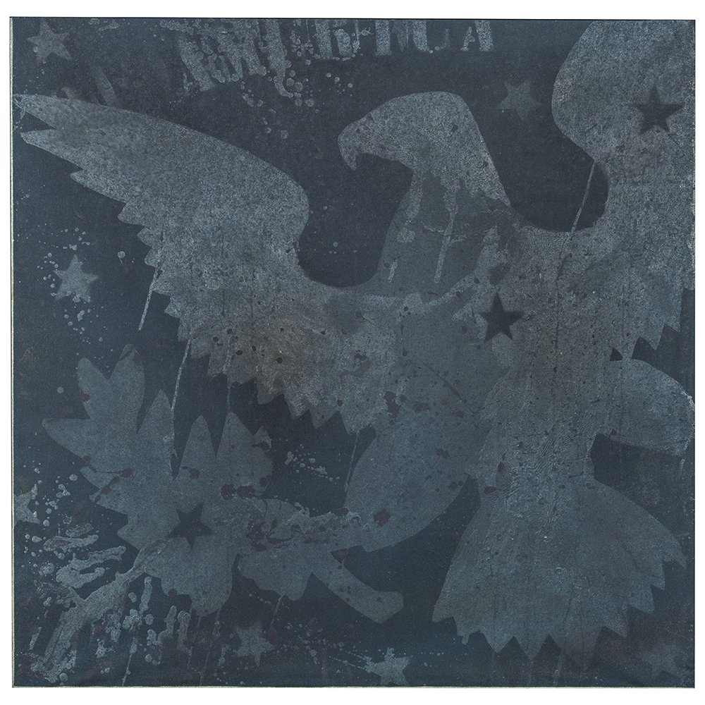 Franco Angeli, Of America,1966, mixed media on canvas with tulle, 100×100 cm